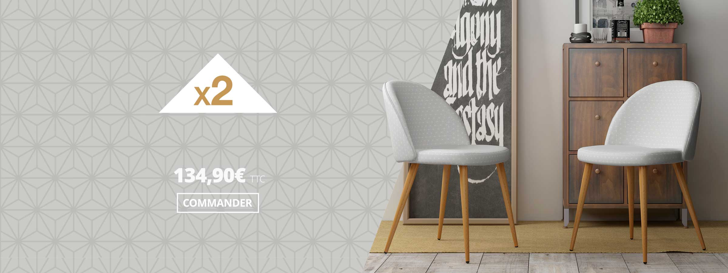 chaise scandinave vintage GIZA -Lot de 2 – Kayelles
