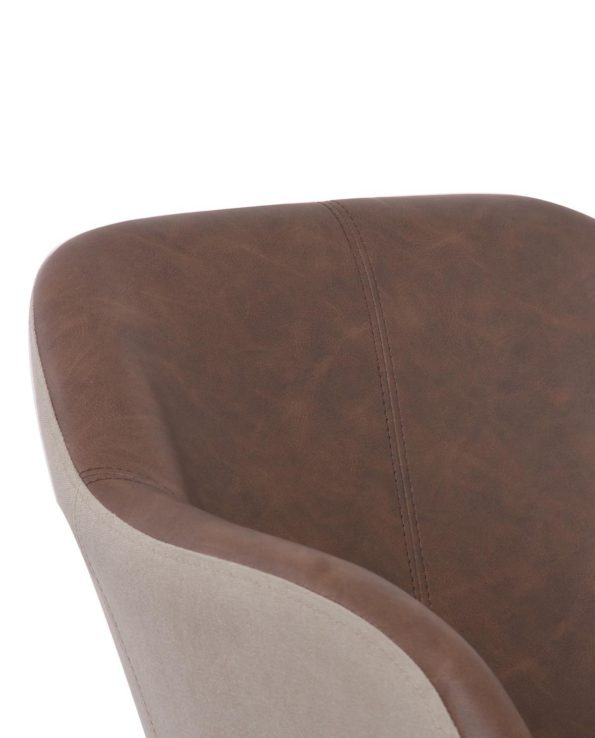 Chaise de Bureau Design PU Marron Antique et Toile Couleur Sable