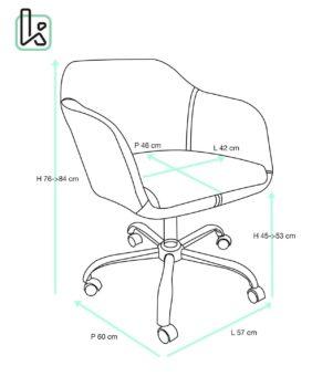 Chaise de Bureau Design PU Marron Antique et Toile couleur Sable - Taille