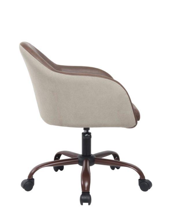 Chaise de Bureau Design PU Marron et Toile Couleur Sable