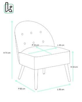 cadis fauteuil - cocktail - capitonne - taille