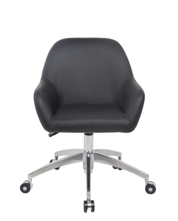 CAPA Chaise de Bureau Design piétement Alu Poli - PU Noir