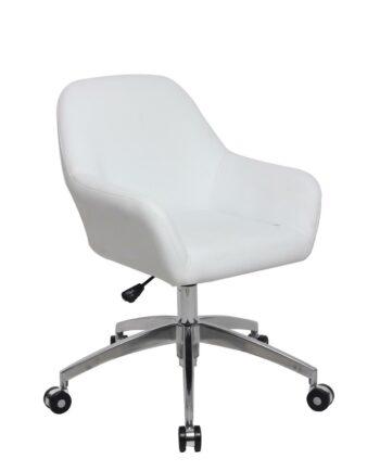 CAPA Chaise de Bureau Design piétement Alu Poli - PU Blanc