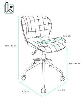 CARA - Chaise de Bureau Design - Taille