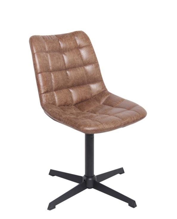 Chaise Lounge matelassée effet cuir vieilli et piètement métal