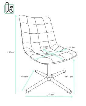 Chaise vintage capitonnée PU vieilli et piètement métal Taille