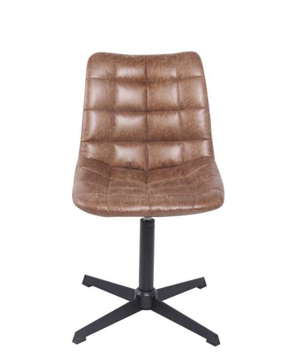 CAYA Chaise vintage matelassée PU vieilli et piètement métal