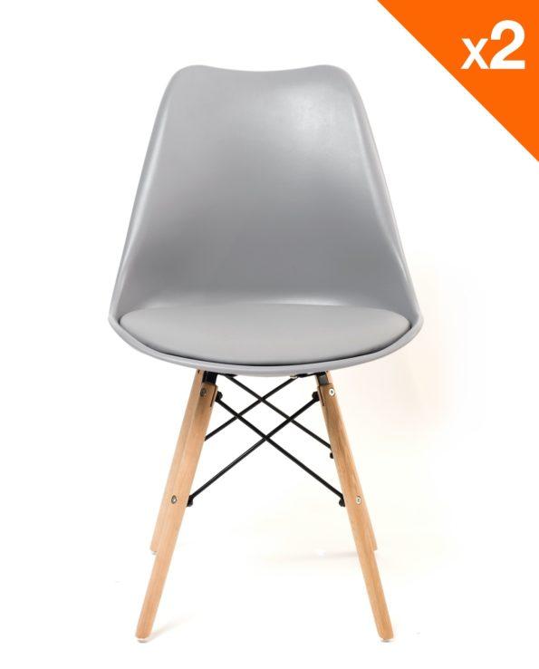Chaises design confort - pietement hetre - gris clair