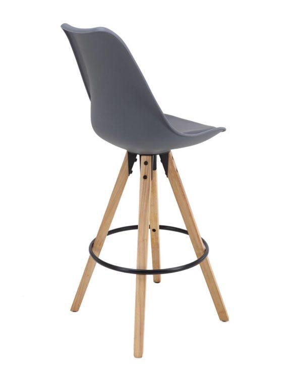 Chaise de Bar Design piétement chêne Gris