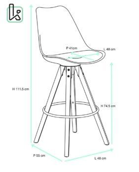 Chaise de Bar Design piétement chêne Taille