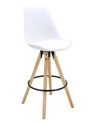 CLEO Tabouret de Bar Design piétement chêne Blanc