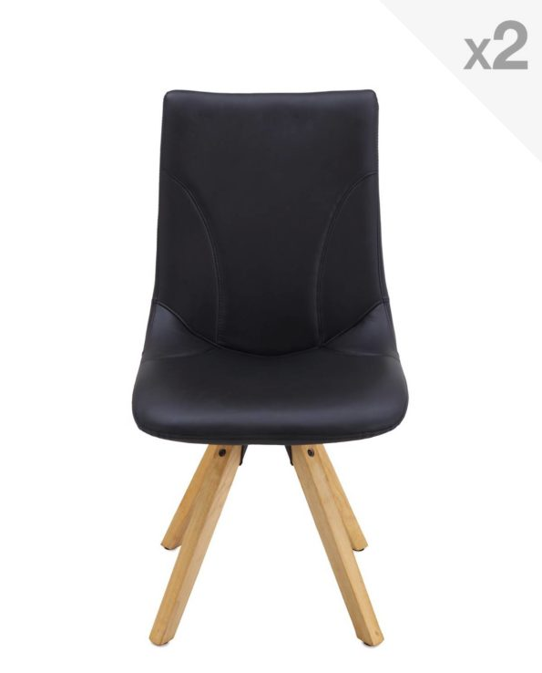 CORI Lot de 2 chaises Design piétement Chêne sty Scandinave