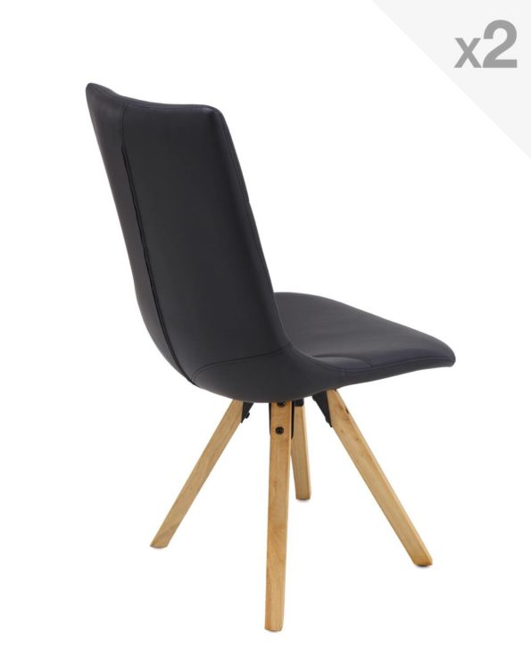 CORI Lot de 2 chaises Design Chêne Scandinave