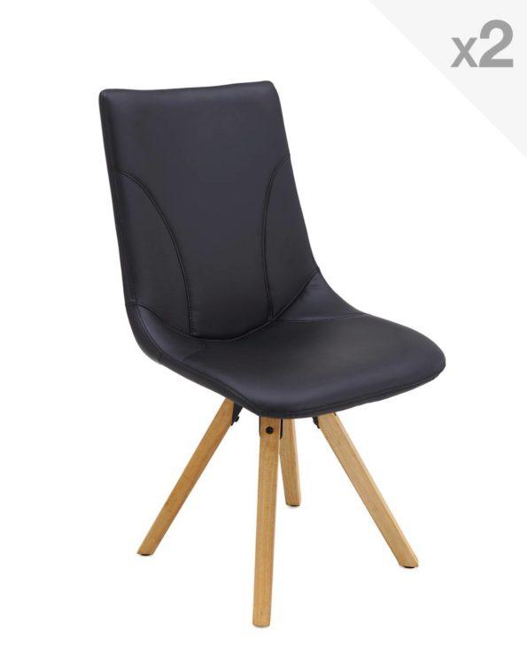 CORI Lot de 2 chaises Design piétement Chêne