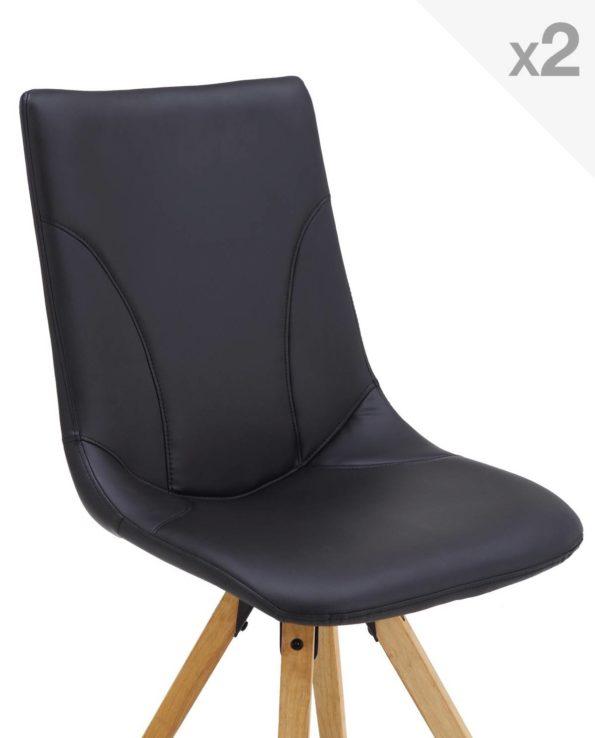 CORI Lot de 2 chaises Design Chêne style Scandinave