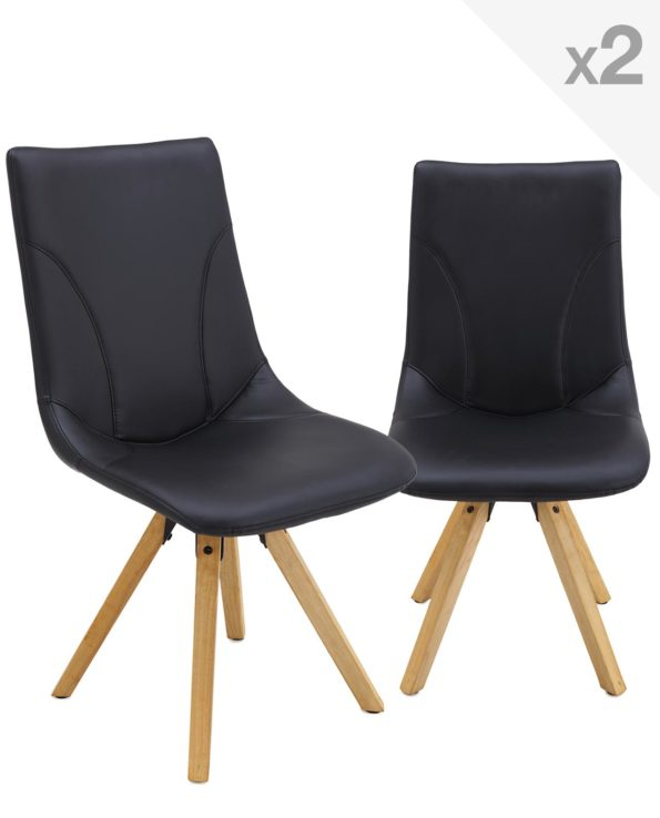Lot de 2 Chaises Design Scandinace CORI - pietement Chêne