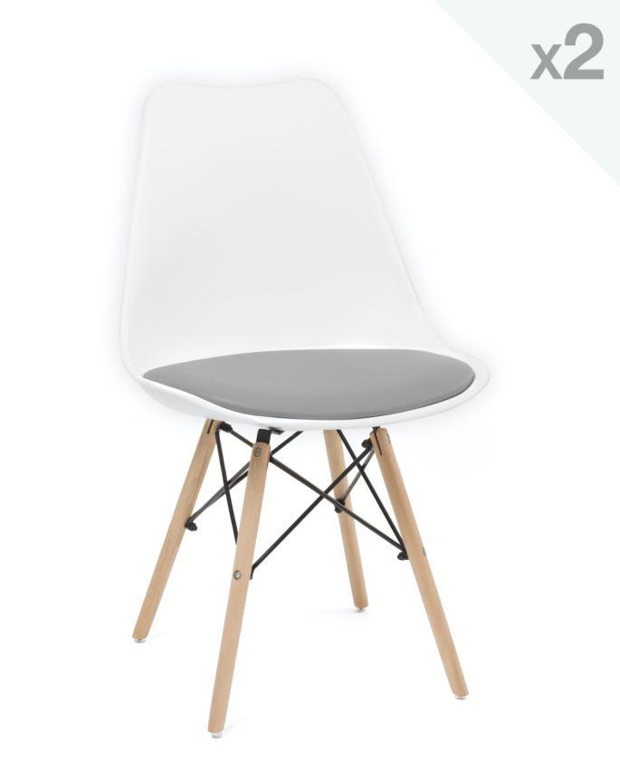 lot de 2 chaises design confort pi tement h tre nasi. Black Bedroom Furniture Sets. Home Design Ideas