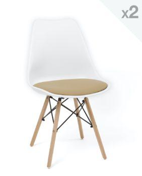 Kayelles chaise Scandinave coussin NASI blanc et marron clair