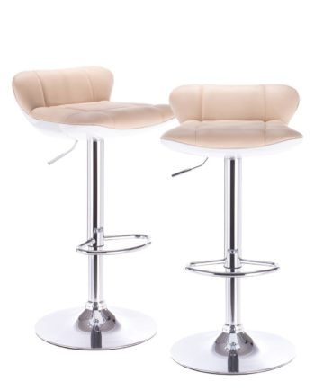 Lot de 2 tabourets de Bar PU Beige et Chrome
