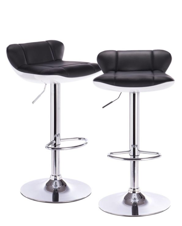 Lot de 2 tabourets de Bar PU Noir et Chrome