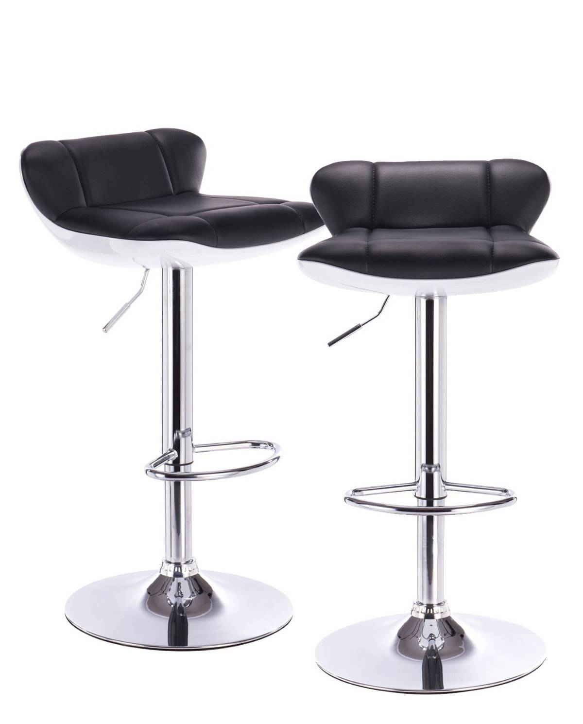 lava lot de 2 tabourets de bar pu et chrome. Black Bedroom Furniture Sets. Home Design Ideas