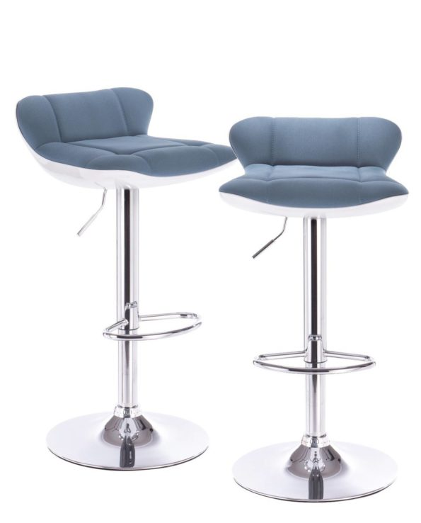Lot de 2 tabourets de Bar PU Bleu et Chrome