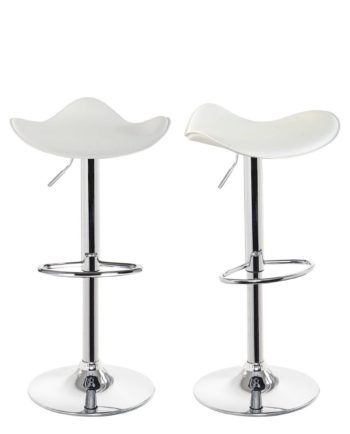 SAPA Lot de 2 chaises de Bar Chrome - Blanc
