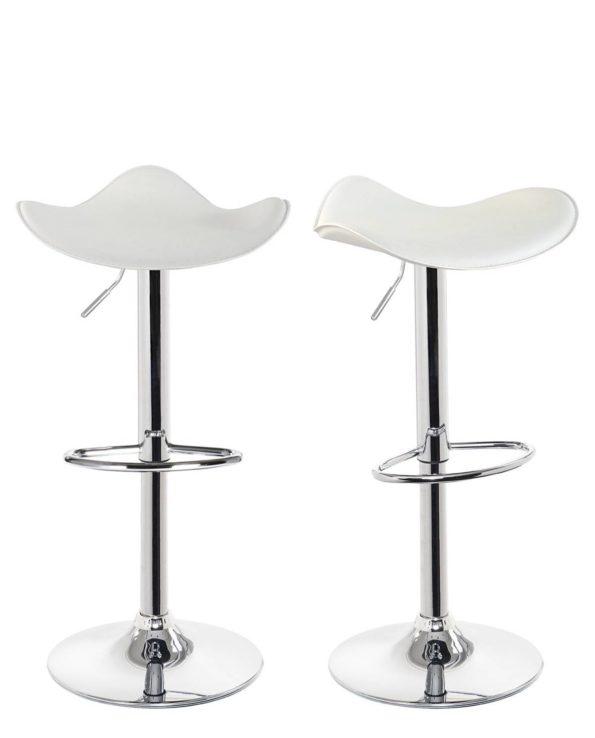 SAPA Lot de 2 chaises de Bar Chrome - Blanc
