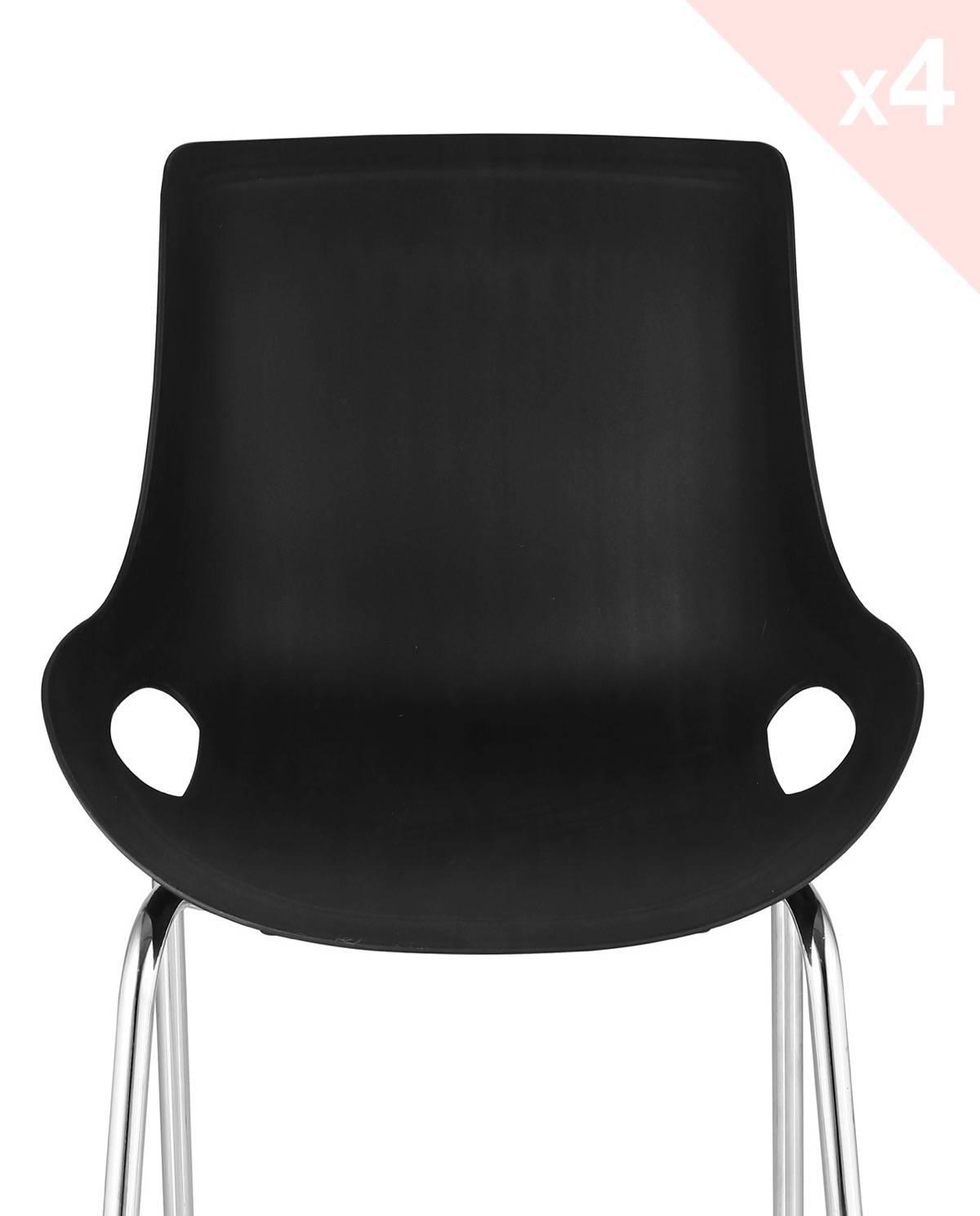 Nido lot de 4 chaises cuisine moderne m tal for Cuisine metal noir