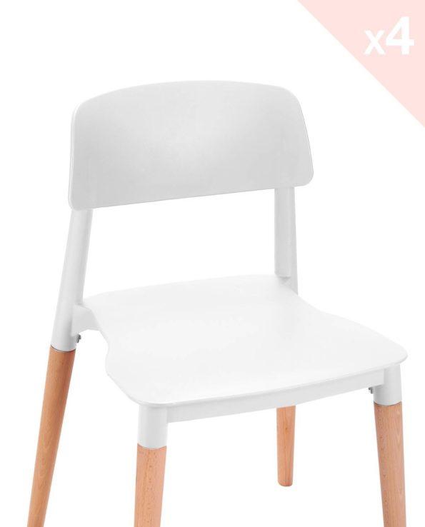 Lot de 4 chaises Cuisine Design piétement Bois Blanc