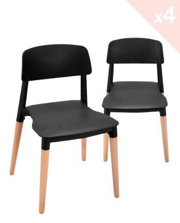 Lot de 4 chaises Cuisine Design piétement Hêtre Noir
