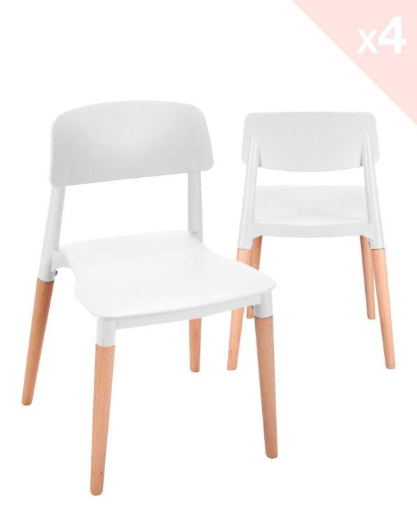 Lot de 4 chaises Cuisine Design piétement Hêtre Blanc