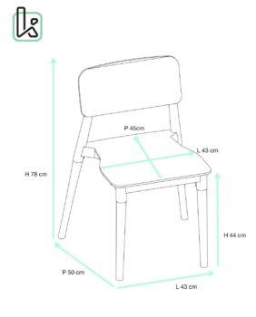 Lot de 4 chaises Cuisine Design Bois - Tailles