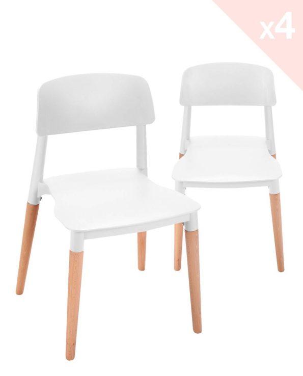 Lot de 4 chaises Cuisine Design Bois Blanc