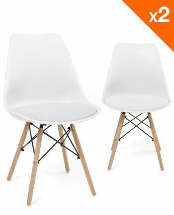 NASI - Chaises design confort - pietement hetre - Blanc - KAYELLES