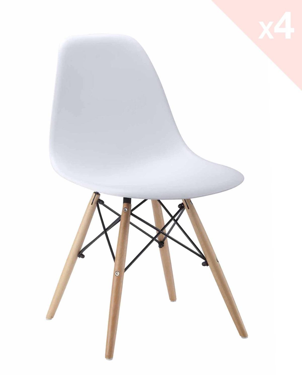 Neo lot de 4 chaises design pi tement h tre for Chaise dsw blanc