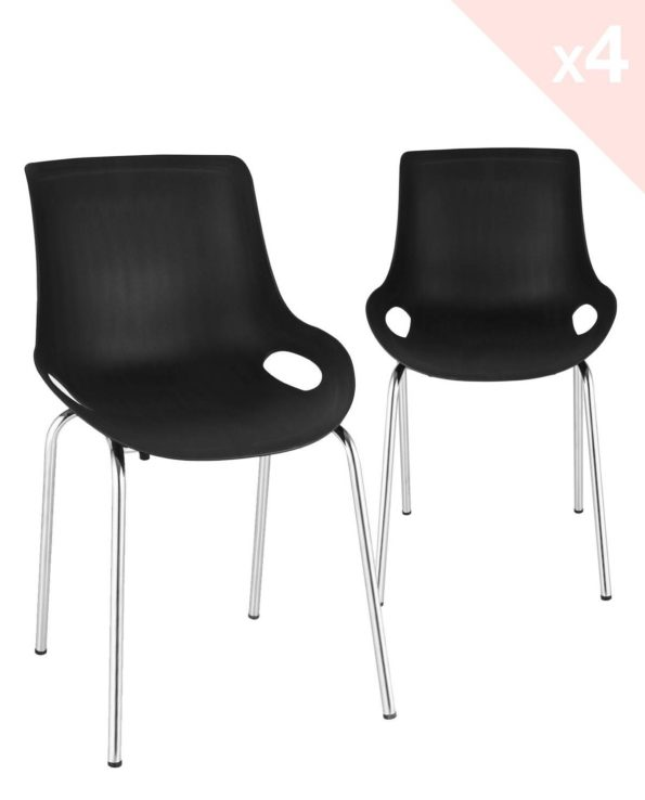 NIDO Lot de 4 chaises Cuisine métal Design - Noir
