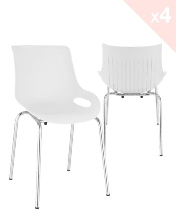 NIDO Lot de 4 chaises Cuisine métal Design - Blanc