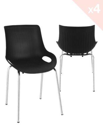 Lot de 4 chaises Cuisine métal - Noir