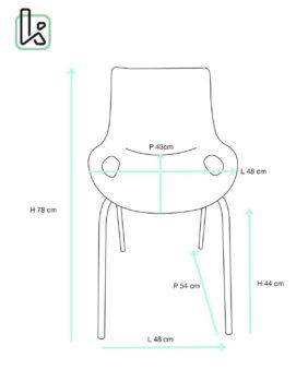 NIDO Lot de 4 chaises Cuisine métal Design - taille