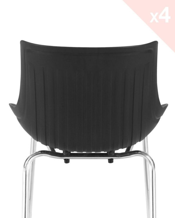 Lot de 4 chaises Cuisine métal Design - Noir