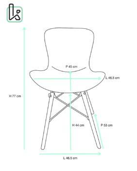 NUTS - Lot de 4 chaises Design piétement bois - Taille