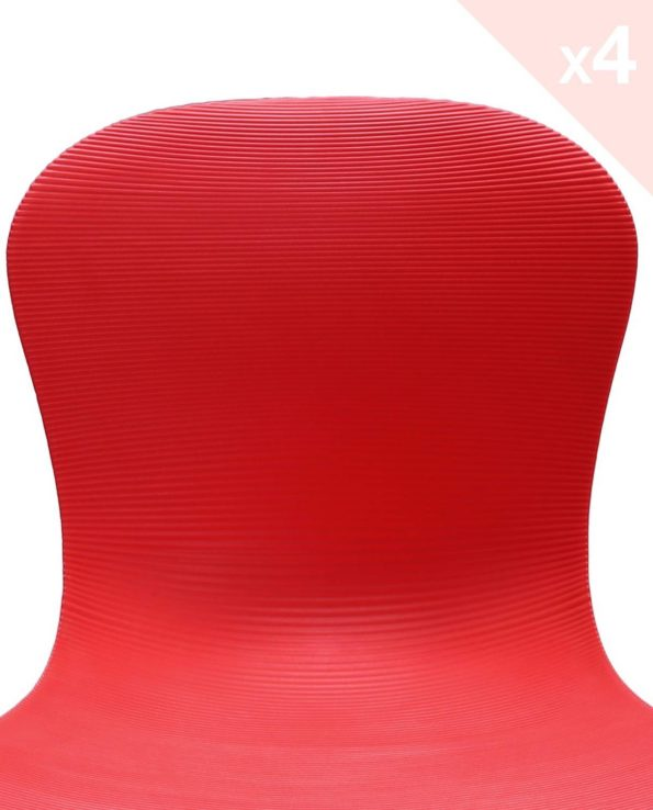 NUTS - Lot de 4 chaises Design - Rouge