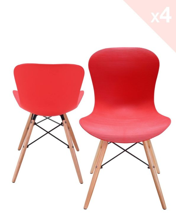 NUTS - Lot de 4 chaises Design bois - Rouge