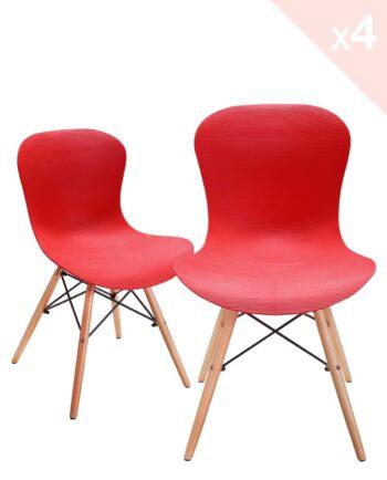 NUTS - Lot de 4 chaises Design piétement bois - Rouge