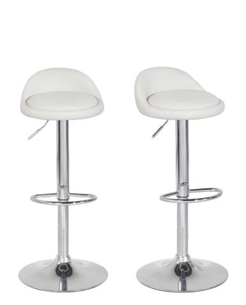 SATI Lot de 2 tabourets de Bar PU et Chrome - Blanc