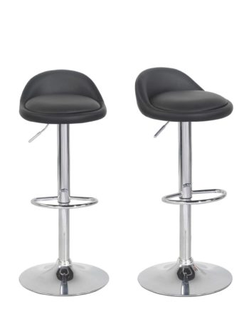 SATI Lot de 2 tabourets de Bar PU et Chrome - Noir
