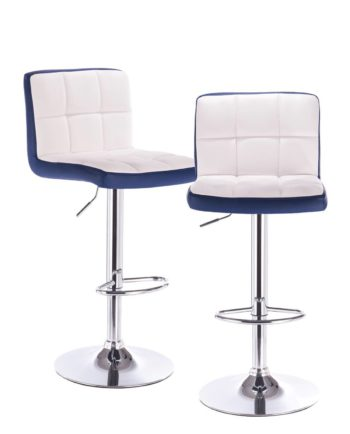 Lot de 2 chaises de bar PU - Chrome - Confort - Bleu