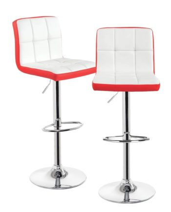 Lot de 2 chaises de bar Confort - PU - Chrome - Rouge