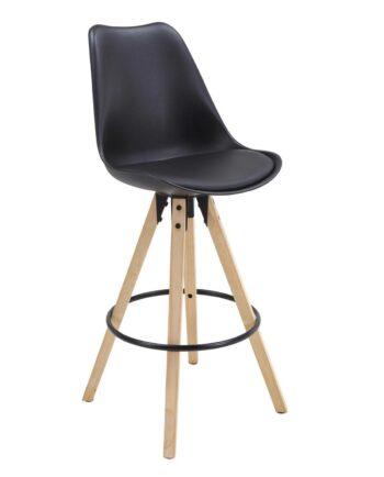CLEO Chaise de Bar Design piétement chêne Noir